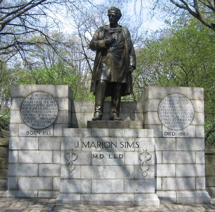 Photo the statue erected in honor of Dr. J. Marion Sims in 1894 on East 103rd Street and Fifth Avenue, on the border of Central Park.