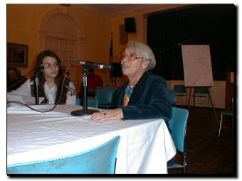 Picture of teenager Lady Ann Ceballo asks Petra Allende about living in East Harlem in the 1950s