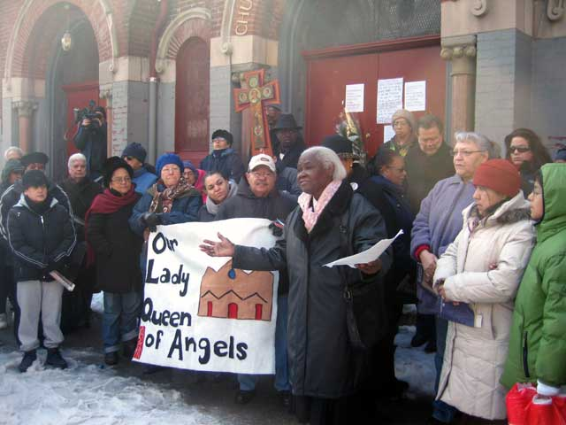 Photo parishioners, beseaching Cardinal Egan to keep their beloved church open.