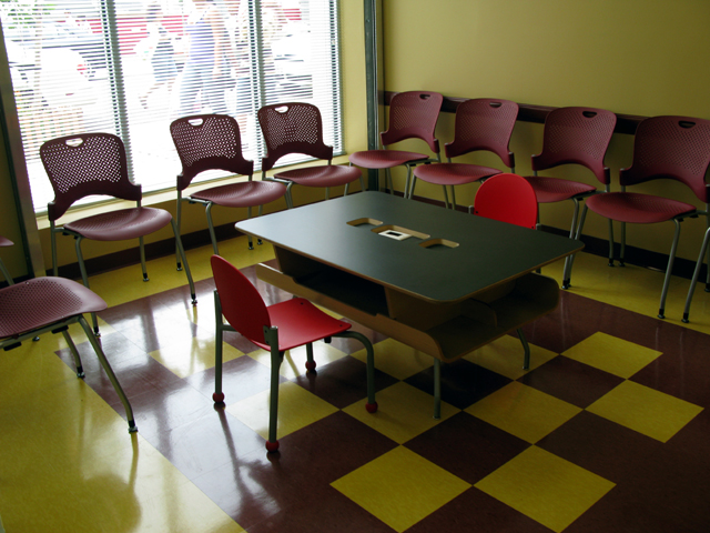 Photo of part of the inside of the East Harlem Asthem Center of Excellence