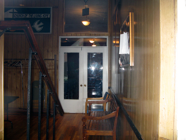 Photo of the inside entrance to the Church of the Living Hope
