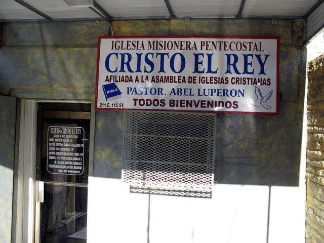 Close Up photo of the front of the Iglesia Cristo Rey