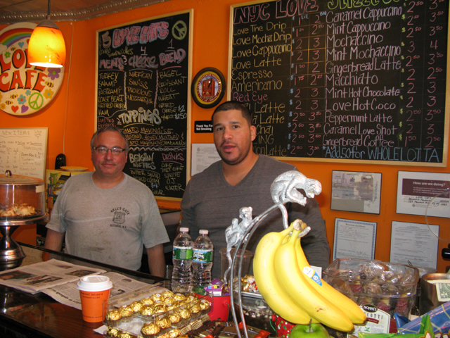 Photo of the owners of the Love Cafe Pat Palmieri and Jay Cintron (Barista)