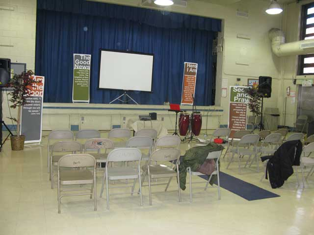 Photos of area where services are held