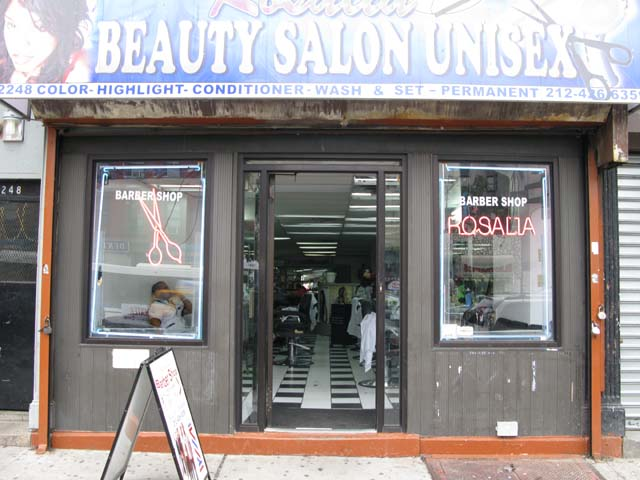 Photograph of the front of Rosalia's Barber Shop