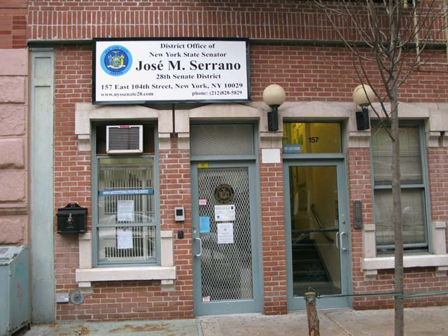 Photo of the front of the State Senator's Office at East 104th Street