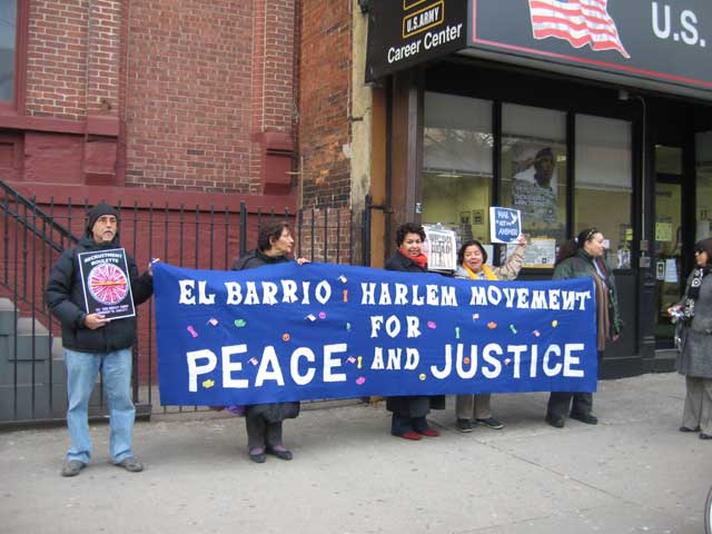 Photo local activist protesting the war in Irag at East 103rd Street in front of the Army Recruitment Center