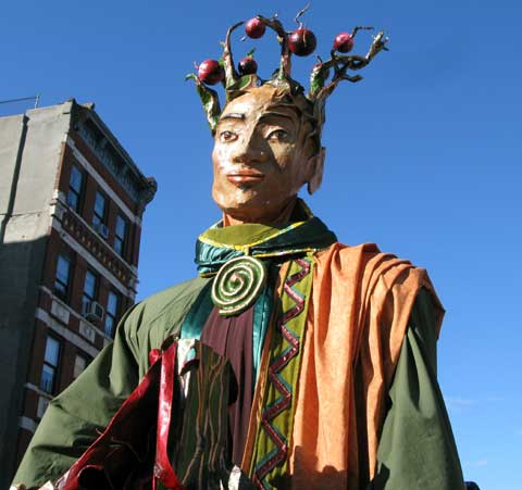 Photo of one of the new giant parade puppets - one of the Three Kings, Wise Men