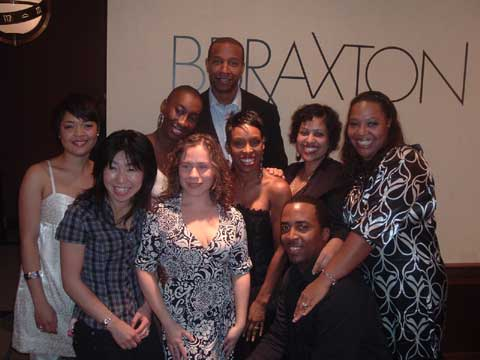 Team BBRAXTON celebrating the shop's first year anniversary in East Harlem.<br /> (Starting from back) Anthony Van Putten, Co-owner; (starting from left of  middle row) Kammie Jordan, Assistant Manager &amp; Barber/Stylist; Sasha Robertson, Nail Technician; Brenda Braxton, Co-owner; Jessica Pellot, Receptionist; Wanda Tucker, Nail Technician.  (Starting from left of front row) Rumi Kitagawa, Master Barber; Helen Arias, Assistant Manager; James Hadden, Barber/Loctician.