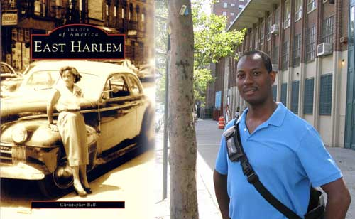 Picture of Chris Bell and his new book, East Harlem, New York, cover