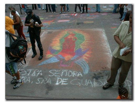 Chalk drawing of the Lady ofGuadalupe.