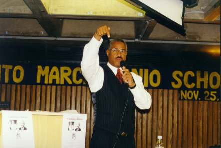 Candidate Felipe Luciano speaks during the debate with vigor