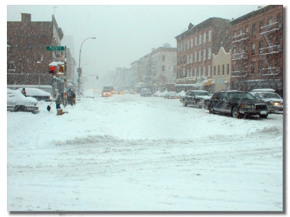 Picture of East 111th Street and Third Avenue, during the height of the storm