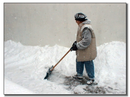 Picture of Home Owner begining to dig out from the storm