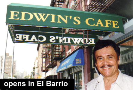 Picture of Edwin Marcial in the forground with an outside shoot of his cafe in the background