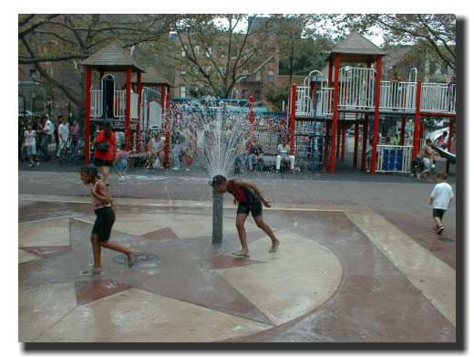Picture of children enjoying the water sprinklers