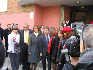 Photo of the Tito Puente Family as they pose for photos with Congressman Charles Rangel